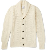 Albam Shawl Collar Cable Knit Wool And Linen Blend Cardigan Cream