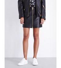 Tommy Hilfiger X Gigi Zip Through Leather Skirt Master Black