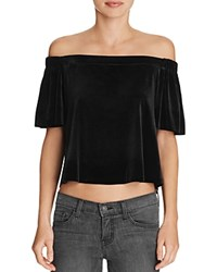 Aqua Velvet Off The Shoulder Crop Top Black