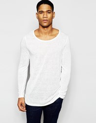 Asos Sheer Slub Jersey Muscle Longline Long Sleeve T Shirt Ecru
