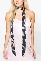Boohoo Feature Print Skinny Satin Scarf Black