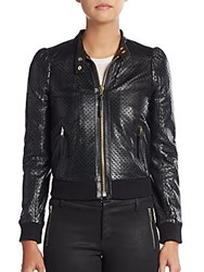 Red Valentino Star Perforated Leather Jacket Black