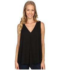 Vince Camuto Sleeveless V Neck Drape Front Blouse Rich Black Women's Blouse