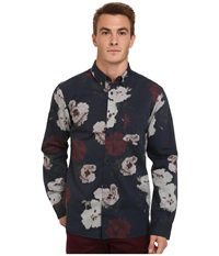 French Connection Pixel Peonie Oxford Marine Blue Men's Clothing