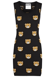 Moschino Black Bear Intarsia Wool Tank Dress
