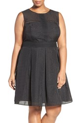 London Times Plus Size Women's Windowpane Organdy Fit And Flare Dress
