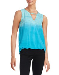 Red Haute Keyhole Surplice Tank Blue