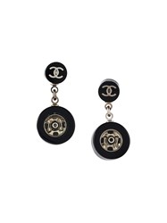 Chanel Vintage Logo Drop Earrings Black