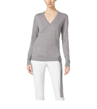 Michael Kors Belted Wool V Neck Sweater