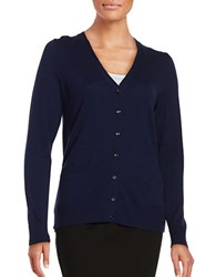 Lord And Taylor Petite Merino Wool Button Front Cardigan Evening Blue