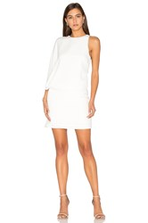 Halston Asymmetrical Mini Dress White