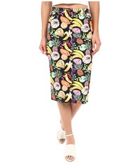 Rachel Antonoff Hillary Denim Pencil Skirt Tutti Frutti Black Women's Skirt Animal Print
