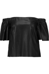 Iris And Ink Off The Shoulder Leather Top Black