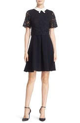 Ted Baker Women's London 'Dixxy' Contrast Trim Lace Bodice Fit And Flare Dress Navy