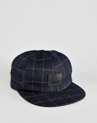 Asos Vintage Baseball Cap In Check Navy Blue