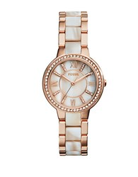 Fossil Virginia Two Tone Horn And Glitz Stainless Steel Watch Rose Gold