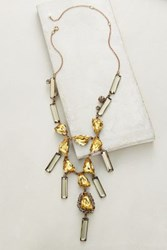 Anthropologie Sunshower Crystal Necklace Yellow