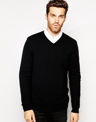 Asos Lambswool Rich V Neck Jumper Black