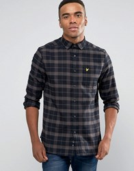 Lyle And Scott Check Flannel Shirt Buttondown In Regular Fit In Black Black