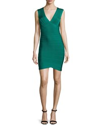 Herve Leger Diane Lane Cutout Back Bandage Dress Alpine Green