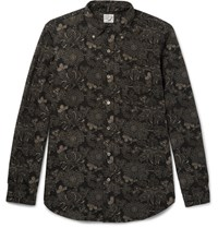 Orslow Button Down Collar Floral Print Cotton And Linen Blend Shirt Black