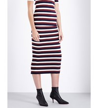Victoria Beckham Striped Waffle Knit Skirt White Navy Boredeaux