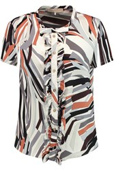 Emilio Pucci Ruffled Printed Stretch Silk Blouse White
