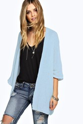 Boohoo Loose Knit Batwing Cardigan Blue