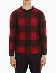 Valentino Black And Red Checked Mohair Sweater