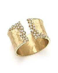 Bloomingdale's Diamond Cuff Ring In 14K Yellow Gold 0.30 Ct. T.W. White Gold