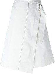 Tory Burch Asymmetric Wrap Skirt White