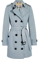 Burberry London The Sandringham Cotton Gabardine Trench Coat Sky Blue