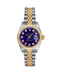 Pre Owned Rolex Stainless Steel And 18K Yellow Gold Two Tone Datejust Watch With Diamond Bezel And Blue Dial 26Mm Blue Gold