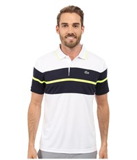 Lacoste Sport Ultra Dry Chest Stripe Polo White Navy Blue Fluo Yellow Men's Clothing