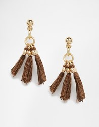 Asos Mini Western Tassel Earrings Gold