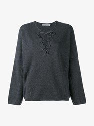 Vince Lace Front Jumper Charcoal Grey Snow