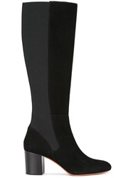 Santoni Block Heel Knee High Boots Black