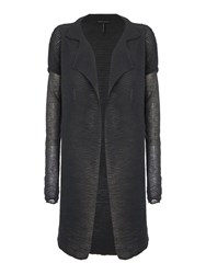 Sarah Pacini Funnel Neck Long Cardigan Dark Green