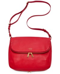 Fossil Preston Leather Flap Shoulder Bag Real Red
