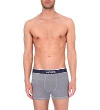 Lacoste Stripe Print Pack Of Two Stretch Cotton Trunks Medieval Blue