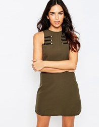 Rare Shift Dress With Military Detail Khaki