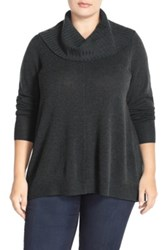 Sejour Cowl Neck Wool And Cashmere Sweater Plus Size Gray