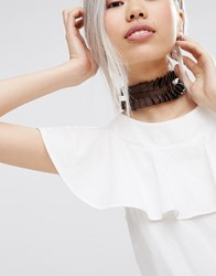 Asos Wide Ruffle Choker Necklace Brown