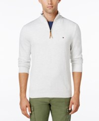 Tommy Hilfiger Men's Big And Tall Signature Solid Quarter Zip Sweater Ice Grey Heather