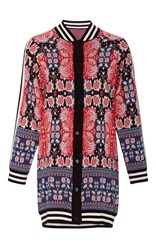 Anna Sui Peacock Jacquard Cardigan Blue Red White