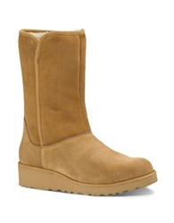 Ugg Amie Sheepskin And Suede Mid Calf Boots Brown