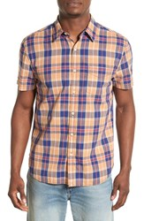 Men's Lucky Brand 'Ballona' Short Sleeve Plaid Woven Shirt