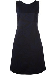 Giorgio Armani Floral Motif A Line Dress Blue
