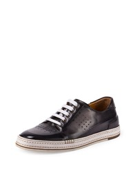 Berluti Playtime Perforated Leather Sneaker Dark Gray Size 9D