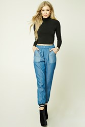Forever 21 Contrast Pocket Chambray Pants Blue